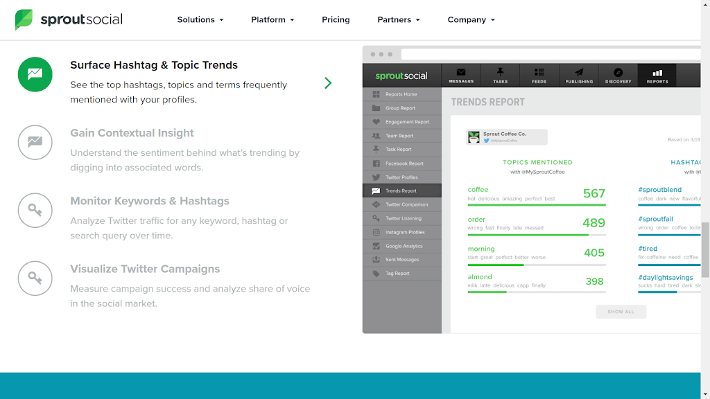 sprout social for hashtag search