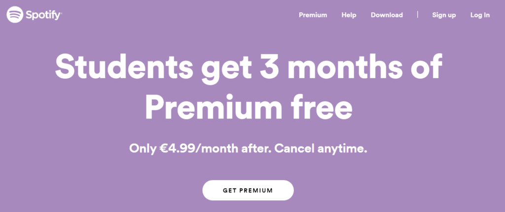 premium spotify discount for students
